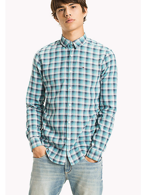 TOMMY JEANS Slim Fit Check Shirt - MAUI BLUE - TOMMY JEANS Shirts - main image