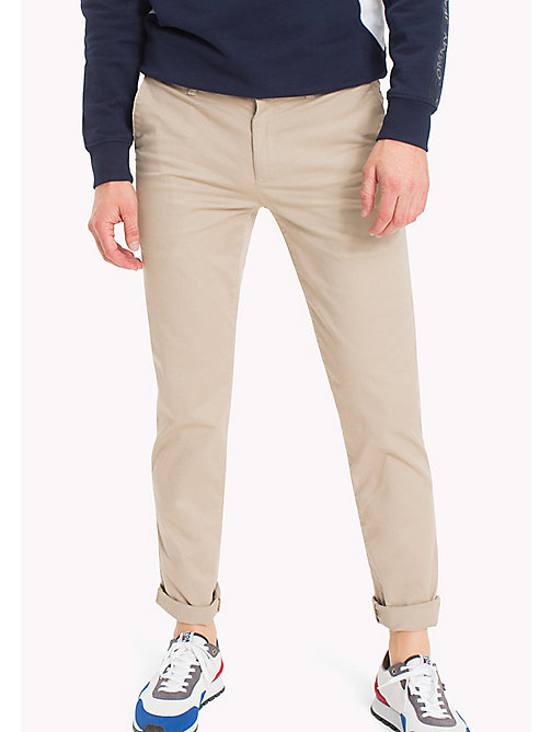 TOMMY JEANS Fitted Straight Leg Chinos - PLAZA TAUPE - TOMMY JEANS Clothing - main image
