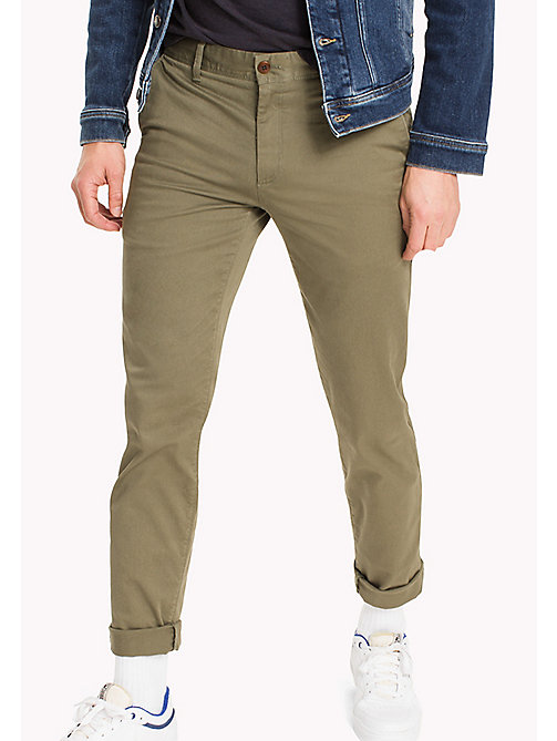 TOMMY JEANS Fitted Straight Leg Chinos - DEEP LICHEN - TOMMY JEANS Trousers & Shorts - main image