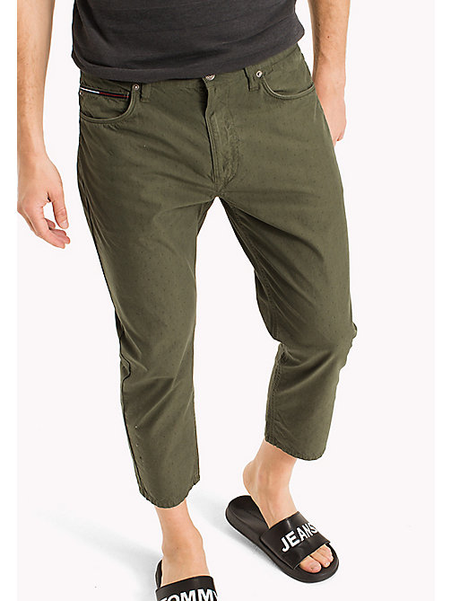 TOMMY JEANS Cotton Jacquard Cropped Trousers - DEEP LICHEN - TOMMY JEANS MEN - main image
