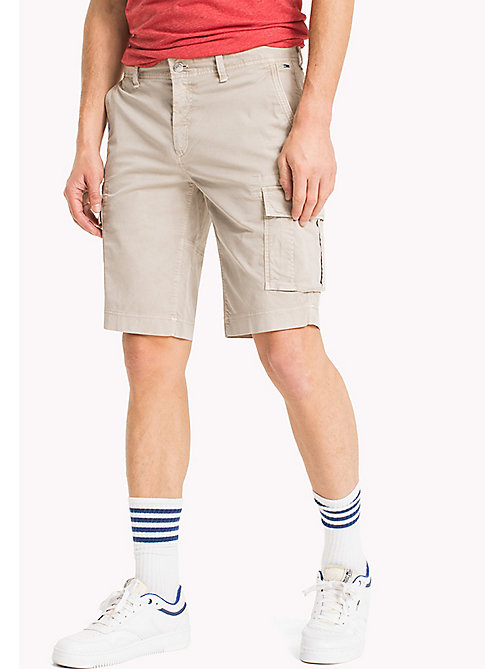 TOMMY JEANS Cotton Stretch Twill Cargo Shorts - PLAZA TAUPE - TOMMY JEANS Trousers & Shorts - main image