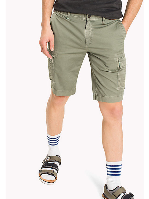 TOMMY JEANS Cotton Stretch Twill Cargo Shorts - DEEP LICHEN - TOMMY JEANS Trousers & Shorts - main image