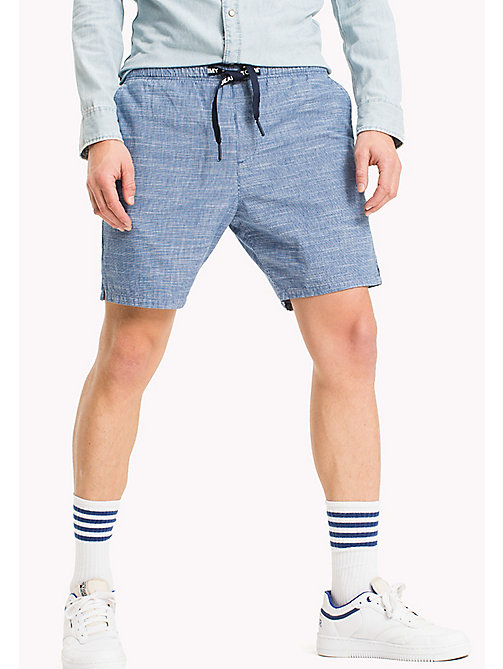 TOMMY JEANS Cotton Indigo Beach Shorts - MID INDIGO - TOMMY JEANS MEN - main image