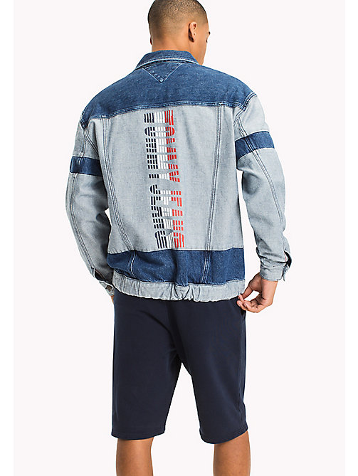 TOMMY JEANS Oversized Denim Trucker Jacket - MOTOR COLOR BLOCK MID BLUE RIG - TOMMY JEANS MEN - detail image 1