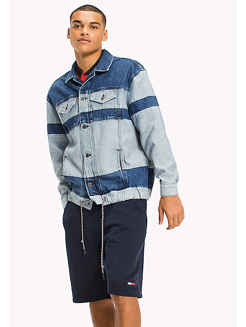 TOMMY JEANS Oversized Denim Trucker Jacket - MOTOR COLOR BLOCK MID BLUE RIG - TOMMY JEANS MEN - main image