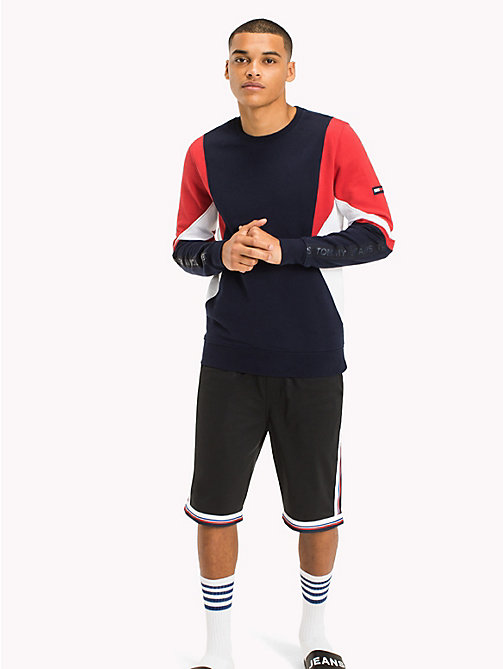 TOMMY JEANS Colour-Blocked Sweatshirt - RACING RED / MULTI - TOMMY JEANS MEN - main image