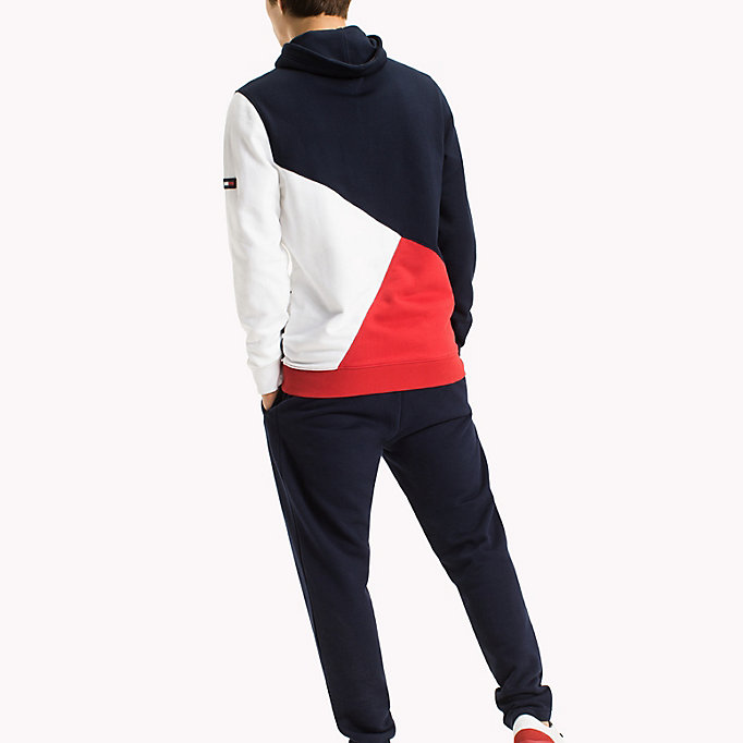 TOMMY JEANS Colour-Blocked Funnel Neck Hoodie - DEEP LICHEN / MULTI - TOMMY JEANS Clothing - detail image 1