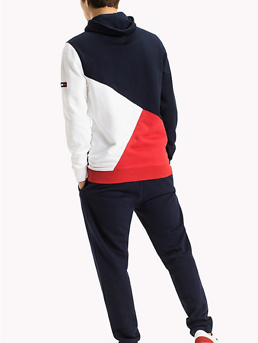TOMMY JEANS Colour-Blocked Funnel Neck Hoodie - RACING RED / MULTI - TOMMY JEANS MEN - detail image 1