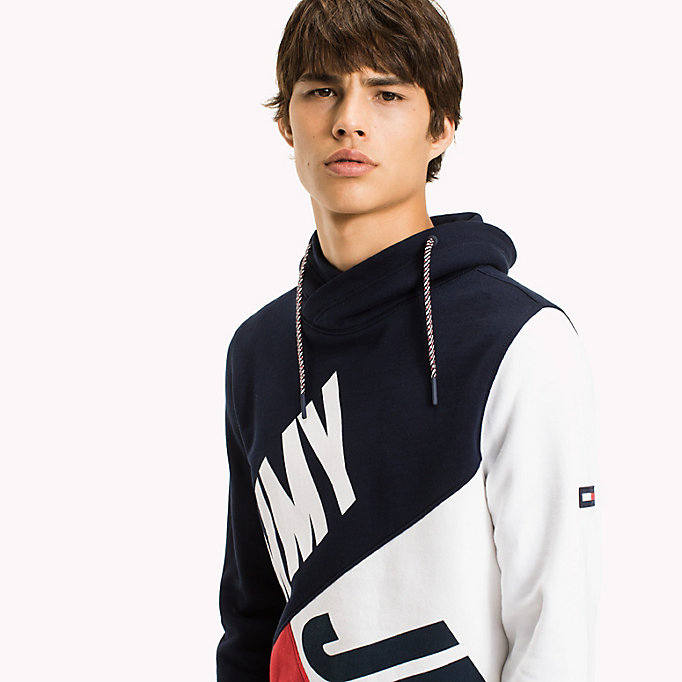 TOMMY JEANS Colour-Blocked Funnel Neck Hoodie - DEEP LICHEN / MULTI - TOMMY JEANS Clothing - detail image 2