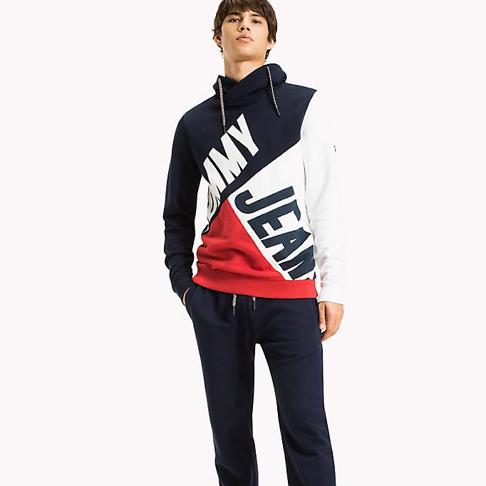 TOMMY JEANS Colour-Blocked Funnel Neck Hoodie - DEEP LICHEN / MULTI - TOMMY JEANS Clothing - main image