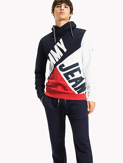 TOMMY JEANS Colour-Blocked Funnel Neck Hoodie - RACING RED / MULTI - TOMMY JEANS MEN - main image