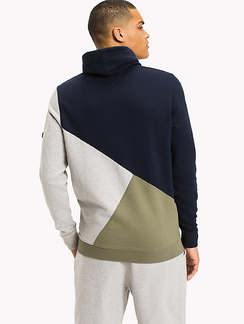 TOMMY JEANS Colour-Blocked Funnel Neck Hoodie - DEEP LICHEN / MULTI - TOMMY JEANS Sweatshirts & Knitwear - detail image 1