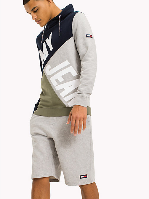 TOMMY JEANS Colour-Blocked Funnel Neck Hoodie - DEEP LICHEN / MULTI - TOMMY JEANS MEN - main image