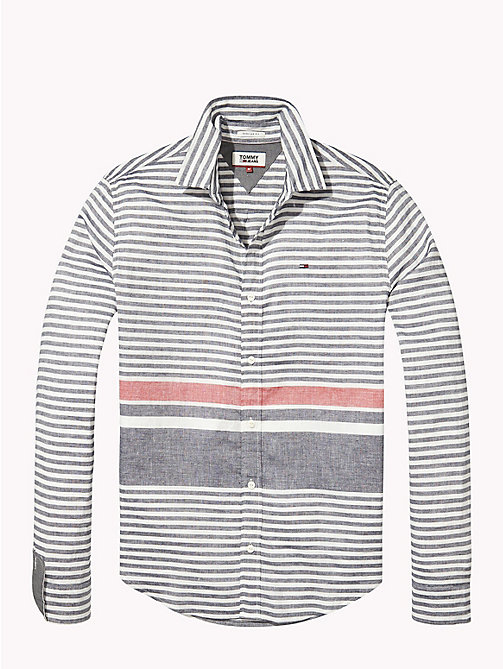 TOMMY JEANS Linen Blend Shirt - BLACK IRIS / RACING RED - TOMMY JEANS Shirts - detail image 1