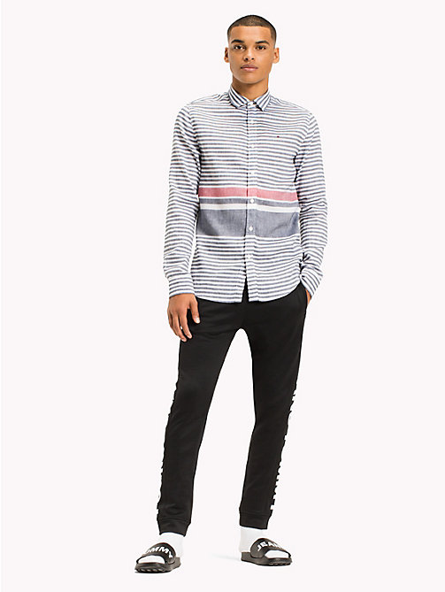 TOMMY JEANS Linen Blend Shirt - BLACK IRIS / RACING RED - TOMMY JEANS Shirts - main image