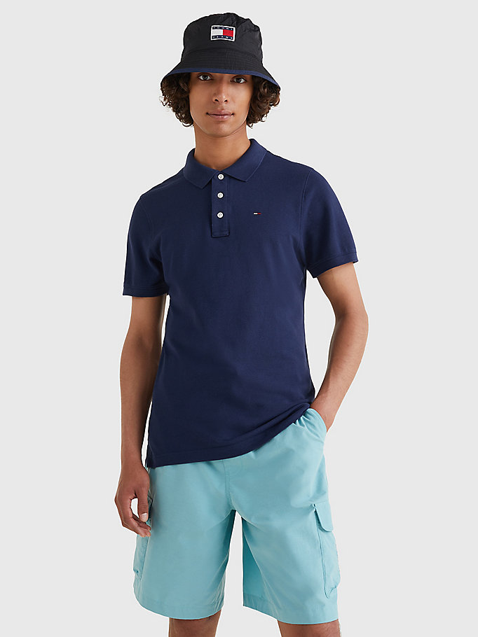 blue organic cotton fine pique slim polo for men tommy jeans