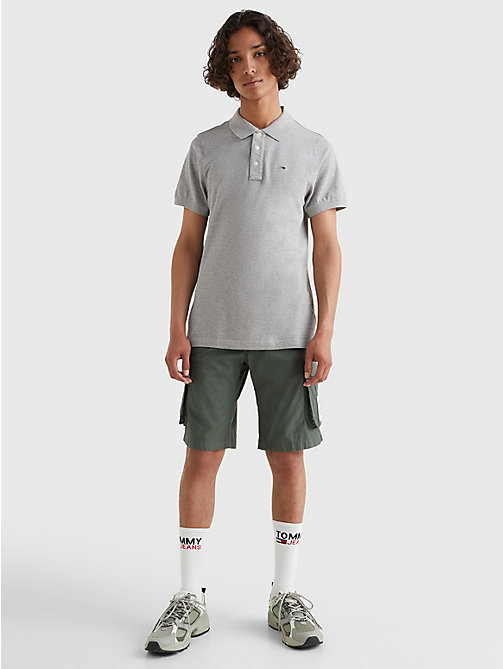 TOMMY JEANS Original Pique Polo Shirt - LT GREY HTR - TOMMY JEANS T-Shirts & Polos - detail image 1