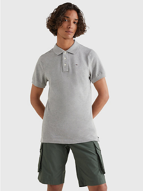 TOMMY JEANS Original Pique Polo Shirt - LT GREY HTR - TOMMY JEANS T-Shirts & Polos - main image