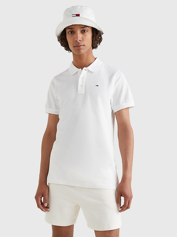 white organic cotton fine pique slim polo for men tommy jeans