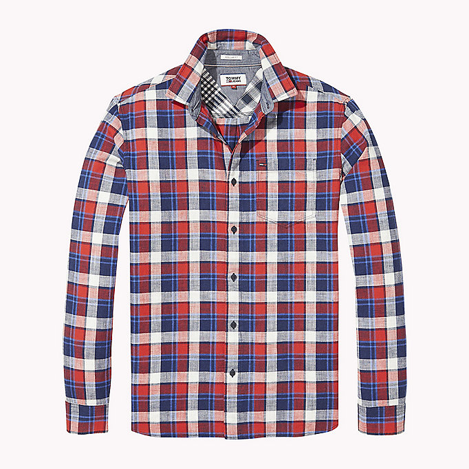 TOMMY JEANS Regular Fit Check Shirt - RACING RED / MULTI - TOMMY JEANS Clothing - detail image 1