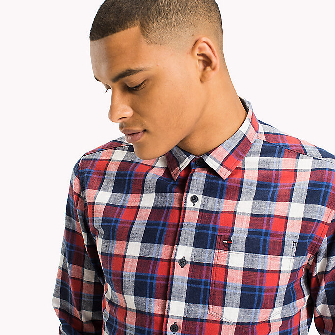 TOMMY JEANS Regular Fit Check Shirt - RACING RED / MULTI - TOMMY JEANS Clothing - detail image 3