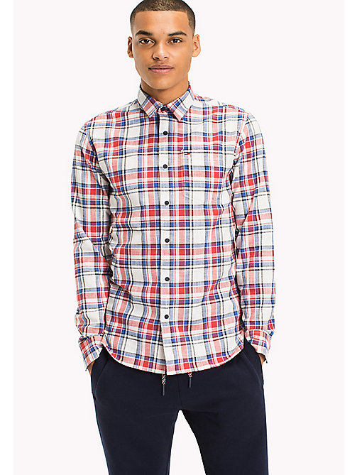 TOMMY JEANS Regular Fit Check Shirt - RACING RED / MULTI -  HOMBRES - imagen principal