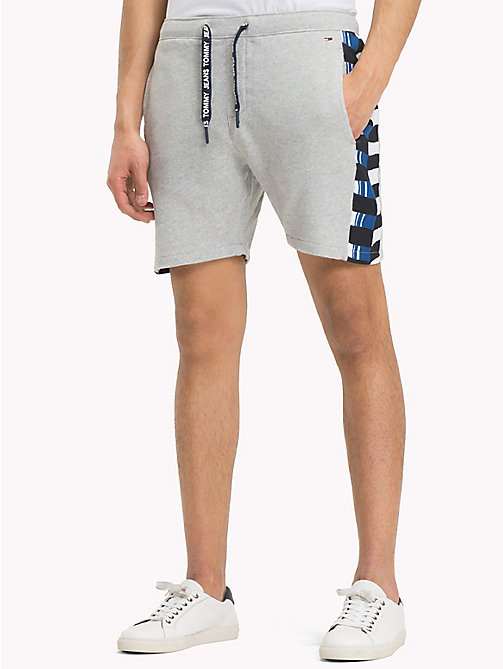 TOMMY JEANS Chequered Knit Beach Shorts - LT GREY HTR - TOMMY JEANS Festivals Season - main image