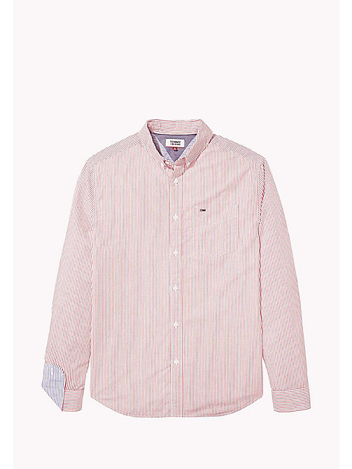 TOMMY JEANS Relaxed Fit Stripe Shirt - RACING RED / CLASSIC WHITE - TOMMY JEANS MEN - detail image 1