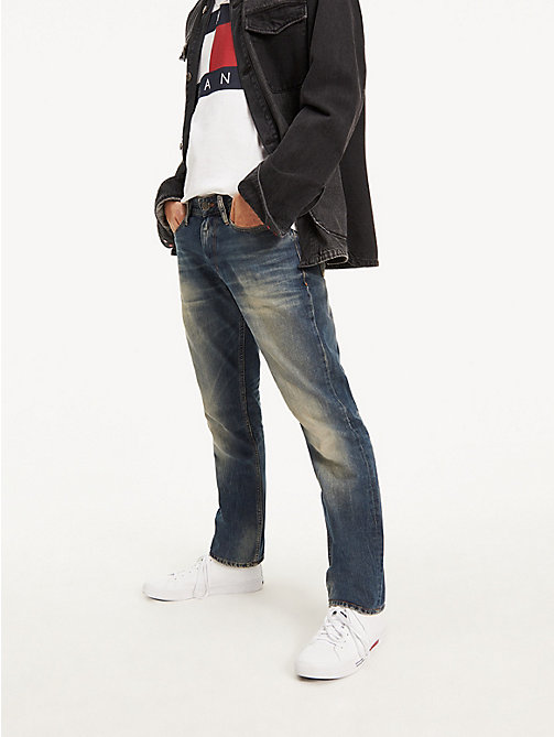 TOMMY JEANS Straight Cut Distressed Jeans - PENROSE BLUE - TOMMY JEANS Straight Fit Jeans - main image