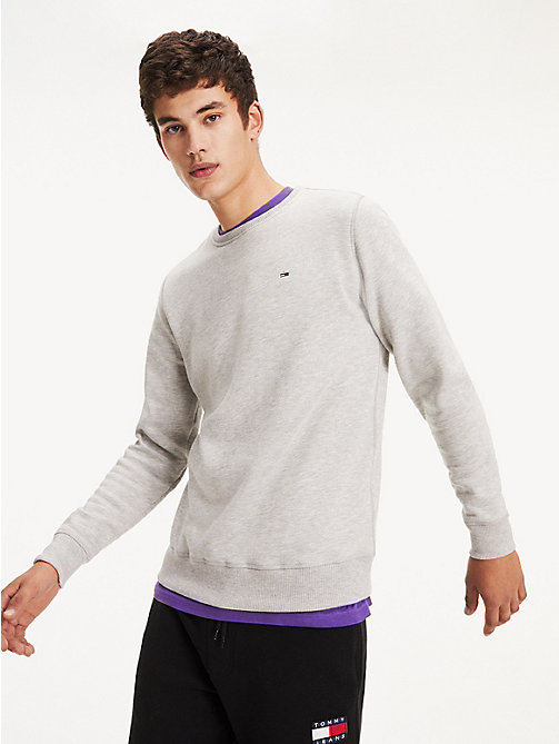 TOMMY JEANS Regular Fit Fleece Sweatshirt - LT GREY HTR - TOMMY JEANS Basics - main image