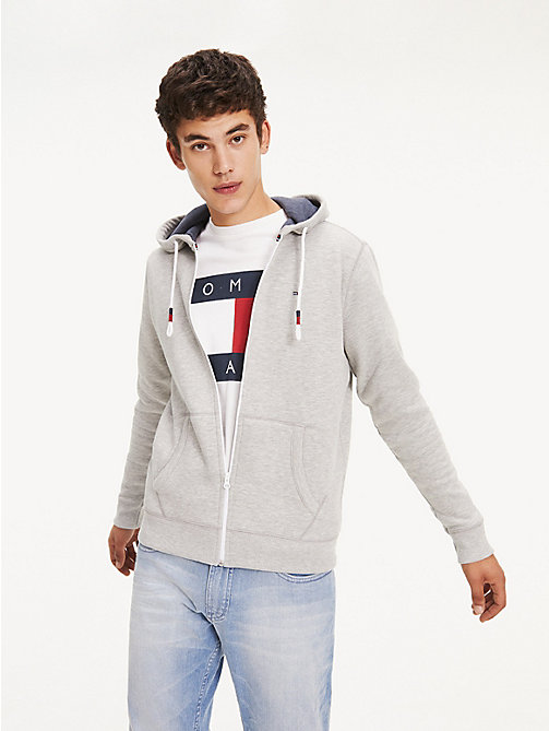 TOMMY JEANS Regular Fit Zipped Hoody - LT GREY HTR - TOMMY JEANS Sweatshirts & Knitwear - main image