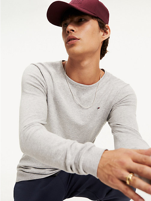TOMMY JEANS Crew Neck Jumper - LT GREY HTR - TOMMY JEANS Basics - main image
