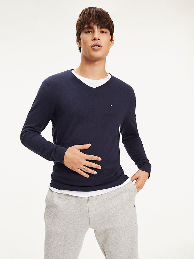 TOMMY JEANS Original V-Neck Jumper - TOMMY BLACK - TOMMY JEANS Clothing - main image
