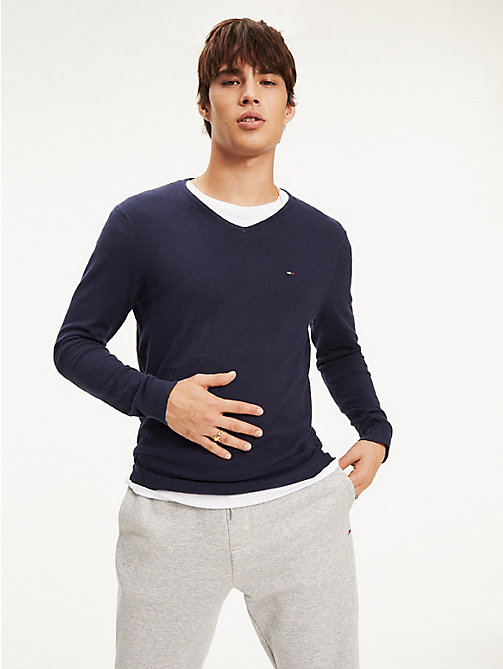 TOMMY JEANS V-Neck Jumper - BLACK IRIS - TOMMY JEANS Knitwear - main image