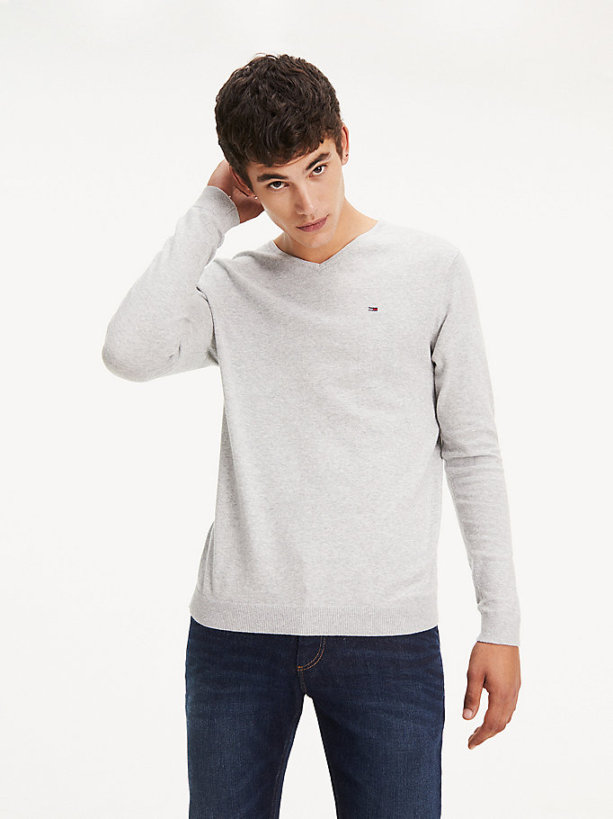 TOMMY JEANS Original V-Neck Jumper - BLACK IRIS - TOMMY JEANS Clothing - main image