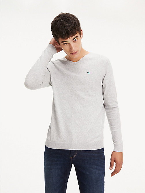 TOMMY JEANS Original V-Neck Jumper - LT GREY HTR - TOMMY JEANS MEN - main image