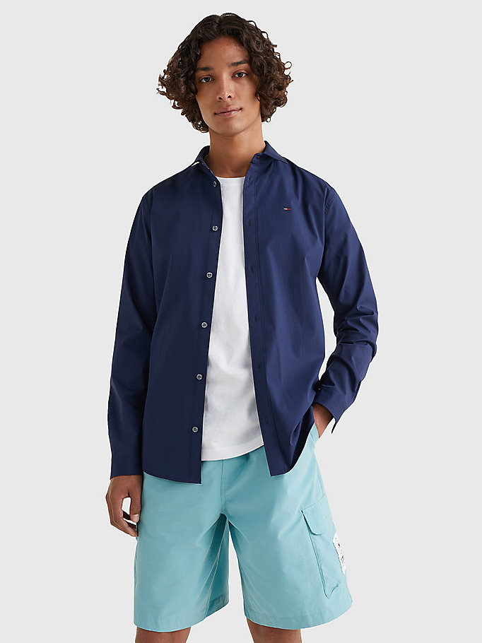blau slim fit hemd mit stretch für men - tommy jeans