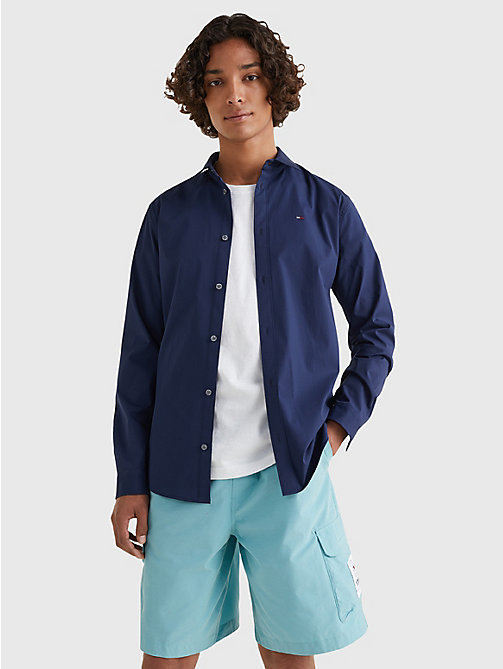 TOMMY JEANS Original Cotton Stretch Shirt - BLACK IRIS - TOMMY JEANS MEN - main image
