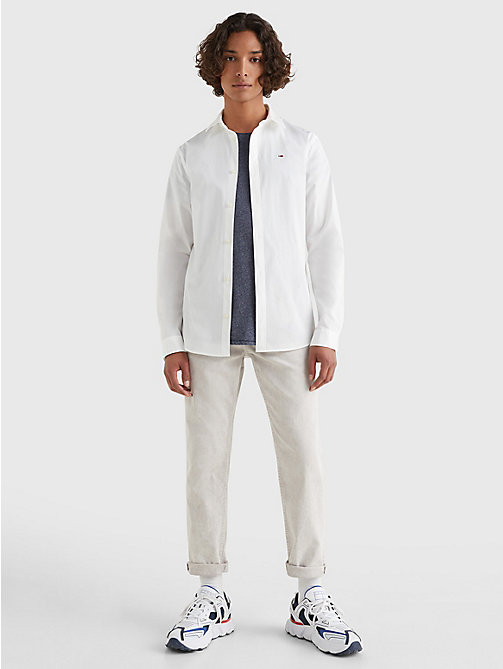 TOMMY JEANS Original Cotton Stretch Shirt - CLASSIC WHITE - TOMMY JEANS MEN - detail image 1