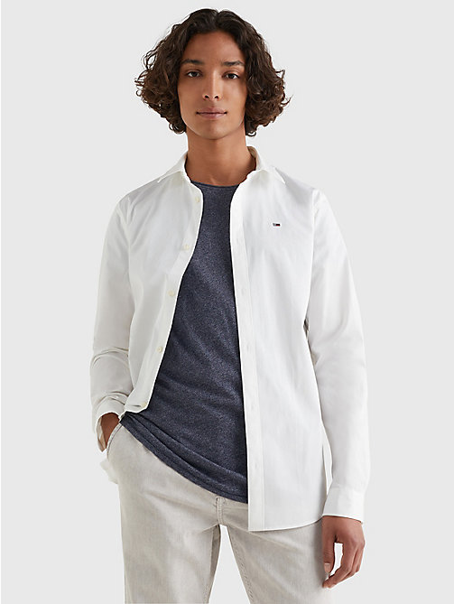 TOMMY JEANS Slim Fit Hemd mit Stretch - CLASSIC WHITE - TOMMY JEANS Basics - main image