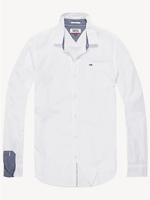 TOMMY JEANS Regular Fit Cotton Shirt - CLASSIC WHITE - TOMMY JEANS Basics - detail image 1