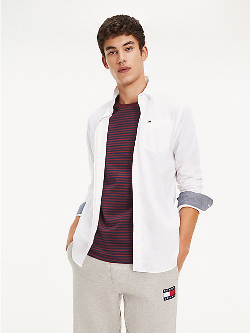 TOMMY JEANS Regular Fit Cotton Shirt - CLASSIC WHITE -  Shirts - main image