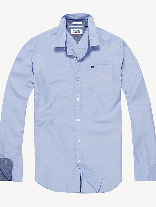 TOMMY JEANS Regular Fit Cotton Shirt - BRIGHT COBALT - TOMMY JEANS Shirts - main image