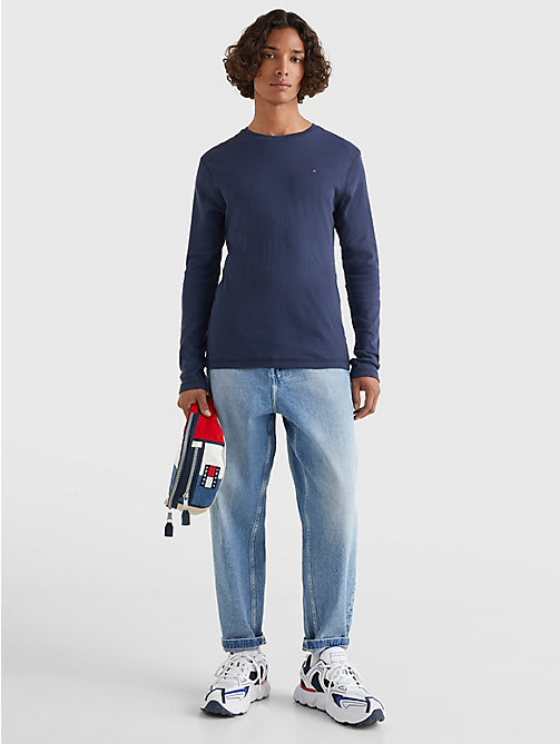 TOMMY JEANS Long Sleeved Ribbed Organic Cotton T-Shirt - BLACK IRIS - TOMMY JEANS T-Shirts & Polos - detail image 1