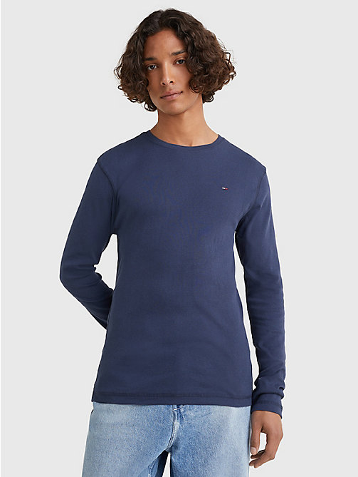 TOMMY JEANS Long Sleeved Ribbed Organic Cotton T-Shirt - BLACK IRIS - TOMMY JEANS T-Shirts & Polos - main image