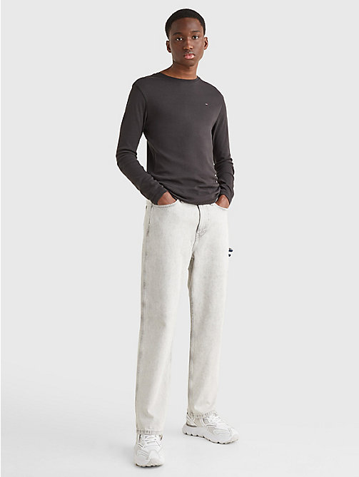 TOMMY JEANS Long Sleeved Ribbed Organic Cotton T-Shirt - TOMMY BLACK - TOMMY JEANS T-Shirts & Polos - detail image 1