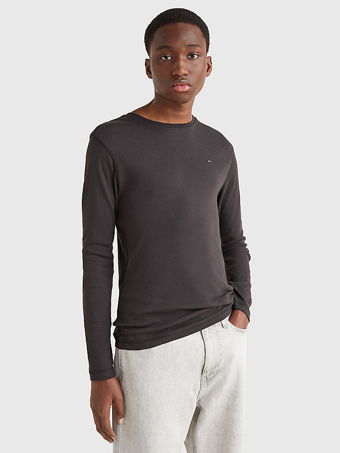 black long sleeved ribbed organic cotton t-shirt for men tommy jeans