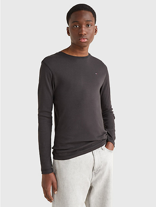 TOMMY JEANS Long Sleeved Ribbed Organic Cotton T-Shirt - TOMMY BLACK - TOMMY JEANS T-Shirts & Polos - main image