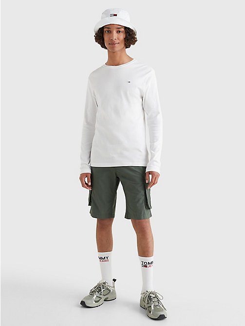 TOMMY JEANS Long Sleeved Ribbed Organic Cotton T-Shirt - CLASSIC WHITE - TOMMY JEANS T-Shirts & Polos - detail image 1