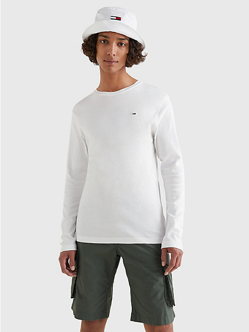 TOMMY JEANS Long Sleeved Ribbed Organic Cotton T-Shirt - CLASSIC WHITE - TOMMY JEANS T-Shirts & Polos - main image